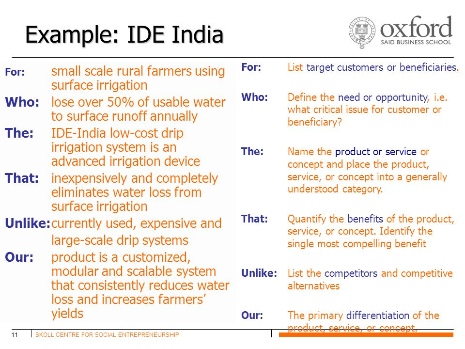 SKOLL CENTRE FOR SOCIAL ENTREPRENEURSHIP11 Example: IDE India For: small scale rural farmers using surface irrigation Who: lose over 50% of usable water to surface runoff annually The: IDE-India low-cost drip irrigation system is an advanced irrigation device That: inexpensively and completely eliminates water loss from surface irrigation Unlike:currently used, expensive and large-scale drip systems Our:product is a customized, modular and scalable system that consistently reduces water loss and increases farmers' yields For: List target customers or beneficiaries.