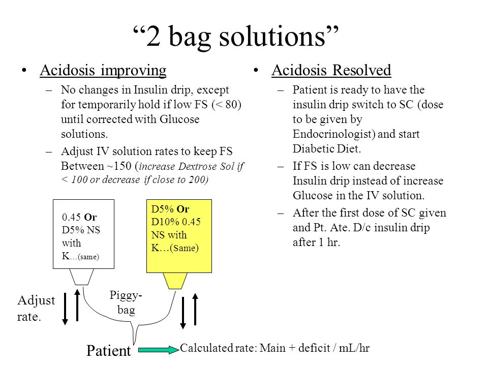2 bag solutions Acidosis improving –No changes in Insulin drip, except for temporarily hold if low FS (< 80) until corrected with Glucose solutions.