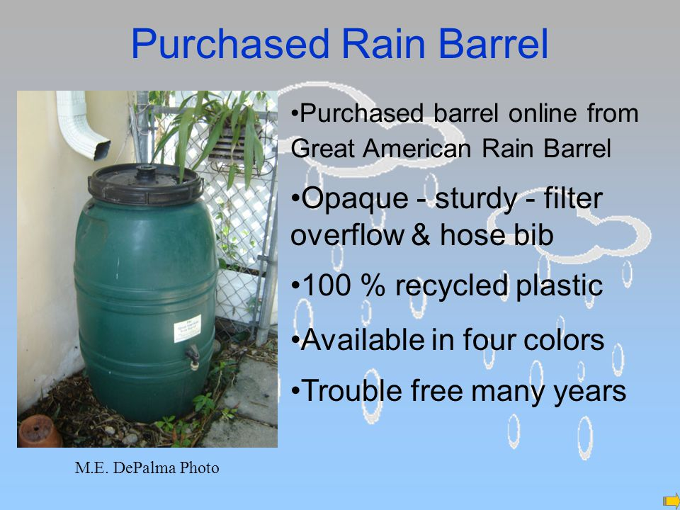 Purchased Rain Barrel M.E.