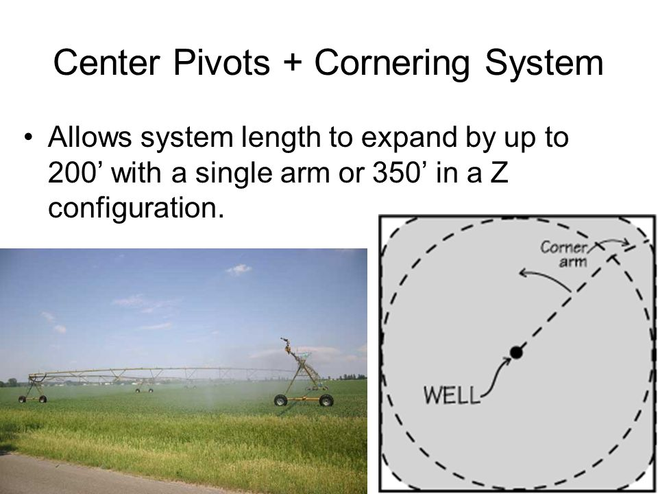 Center Pivots + Cornering System Allows system length to expand by up to 200' with a single arm or 350' in a Z configuration.