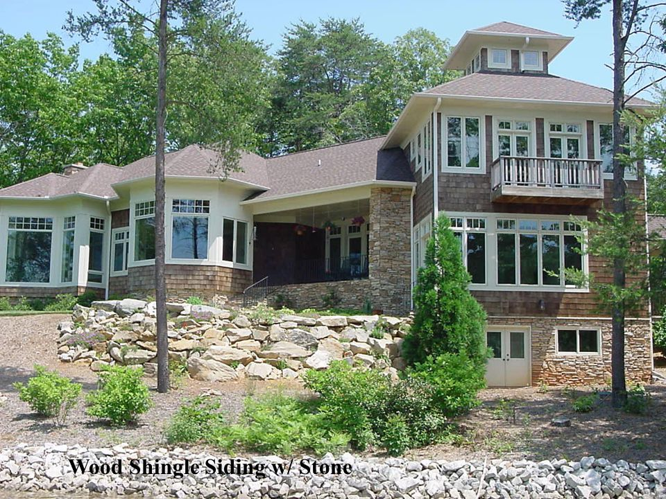 Wood Shingle Siding w/ Stone