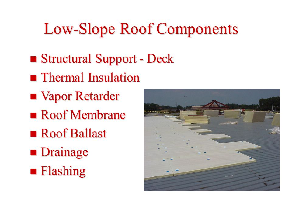 Low-Slope Roof Components Structural Support - Deck Structural Support - Deck Thermal Insulation Thermal Insulation Vapor Retarder Vapor Retarder Roof