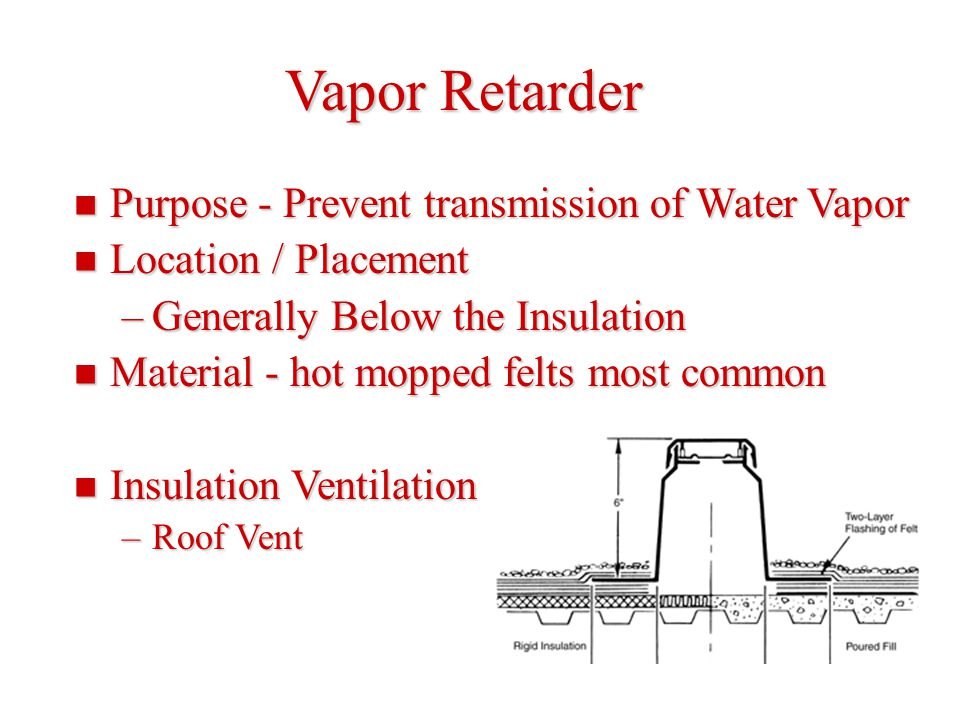 Vapor Retarder Purpose - Prevent transmission of Water Vapor Purpose - Prevent transmission of Water Vapor Location / Placement Location / Placement –