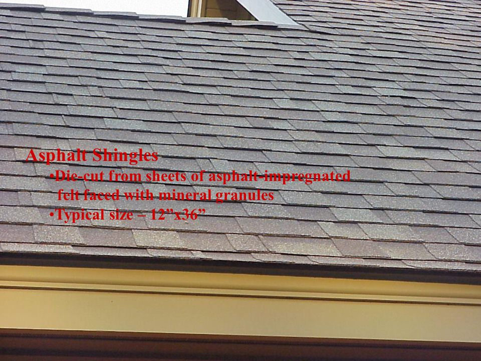 "Asphalt Shingles Die-cut from sheets of asphalt-impregnated felt faced with mineral granules Typical size – 12""x36"""