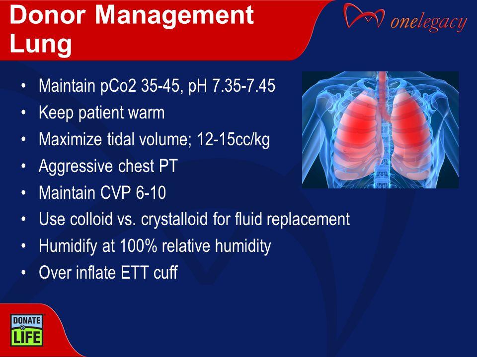 Donor Management Lung Maintain pCo2 35-45, pH 7.35-7.45 Keep patient warm Maximize tidal volume; 12-15cc/kg Aggressive chest PT Maintain CVP 6-10 Use colloid vs.
