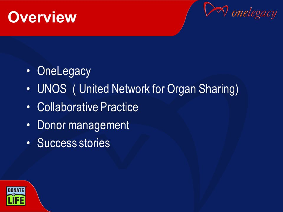 OneLegacy Founded in 1977 Not for profit Federally funded and designated by CMS as an OPO Licensed by California as a tissue bank Serving 220 hospitals, 14 transplant centers & 18.1 million residents Serve seven counties in Southern California