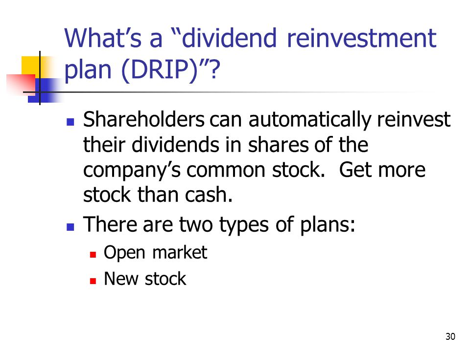"30 What's a ""dividend reinvestment plan (DRIP)""? Shareholders can automatically reinvest their dividends in shares of the company's common stock. Get"