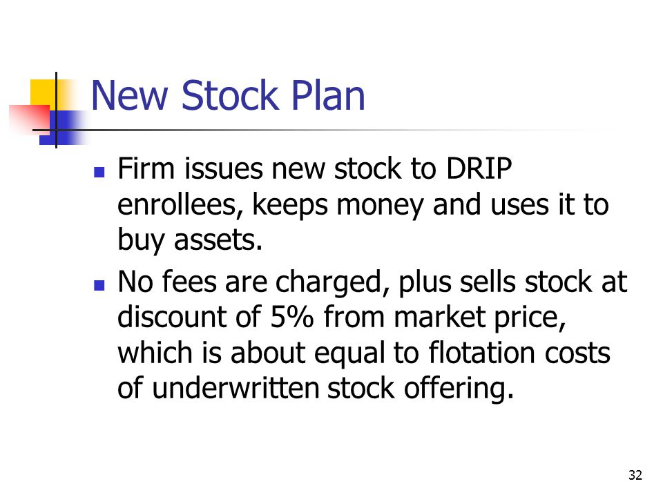 32 New Stock Plan Firm issues new stock to DRIP enrollees, keeps money and uses it to buy assets. No fees are charged, plus sells stock at discount of