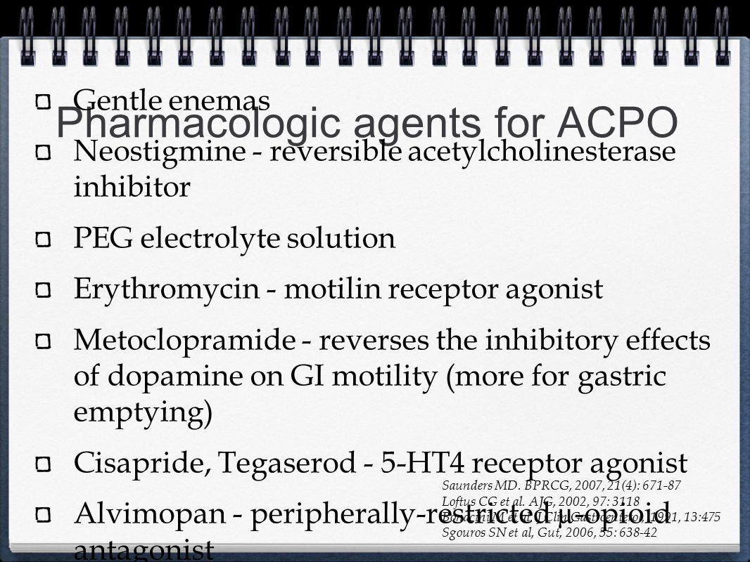 Pharmacologic agents for ACPO Gentle enemas Neostigmine - reversible acetylcholinesterase inhibitor PEG electrolyte solution Erythromycin - motilin re