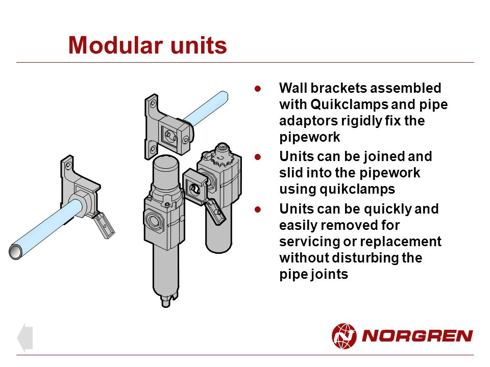 Accessories This system is extremely flexible as any variety of units can be joined using quikclamps Accessories include: Porting block Adjustable pressure switch with porting block Manifold block Shut-off valve
