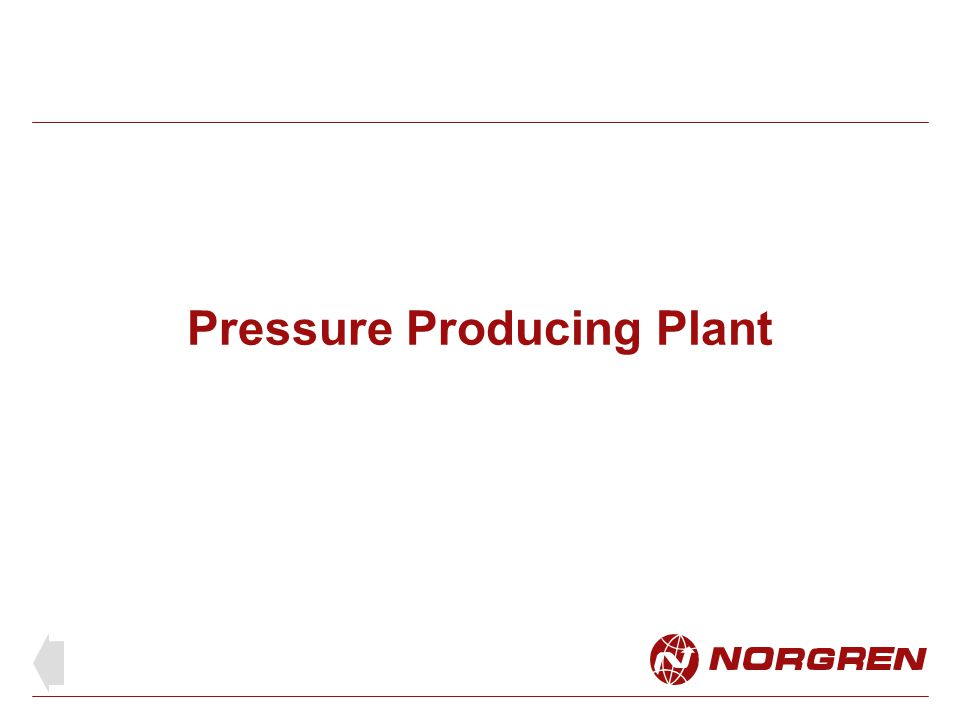 Pressure producing plant Compressor sizes range from less than 1 l/s with little or no preparation equipment, to multiple compressor plant installations generating hundreds of cubic meters per hour Sizes are defined as follows: Small compressors are up to 40 litres per sec and input of no more than 15 kW.