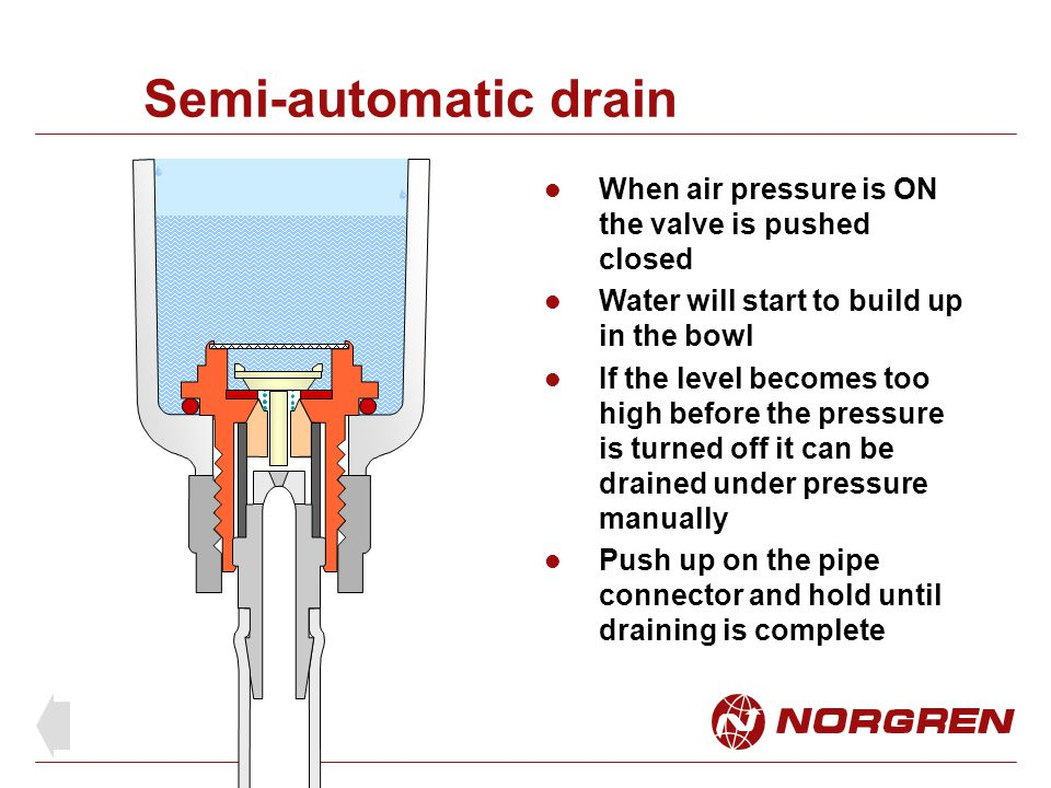 Semi-automatic drain When air pressure is ON the valve is pushed closed Water will start to build up in the bowl If the level becomes too high before the pressure is turned off it can be drained under pressure manually Push up on the pipe connector and hold until draining is complete
