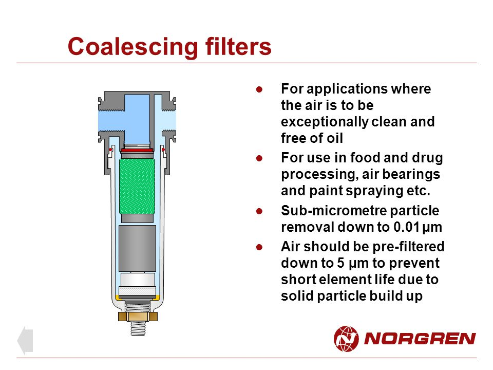 Coalescing filter element Air enters the inside of the element and passes through the filter to the outer surface Perforated stainless steel supporting formers for up to 10 bar differential Filter media: borosilicate glass micro fibre Foam sock diffuses air flow to low velocity to prevent oil re-entrainment Ends set in resin to seal