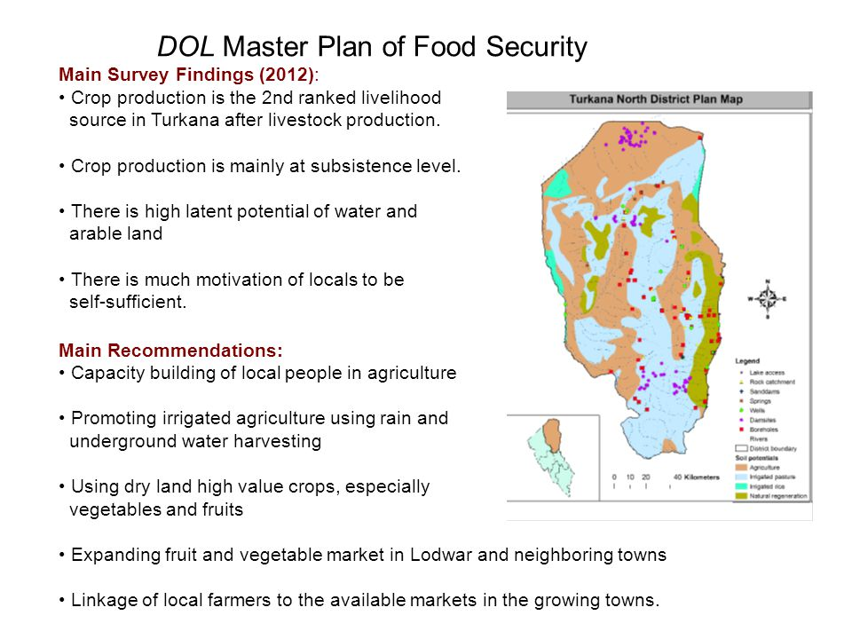 DOL Master Plan of Food Security Main Survey Findings (2012): Crop production is the 2nd ranked livelihood source in Turkana after livestock productio