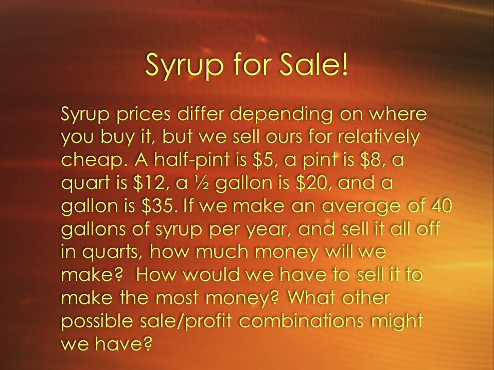 Syrup for Sale.