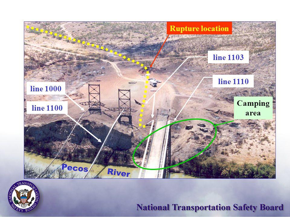 Camping area line 1103 River Pecos Rupture location line 1000 line 1100 line 1110