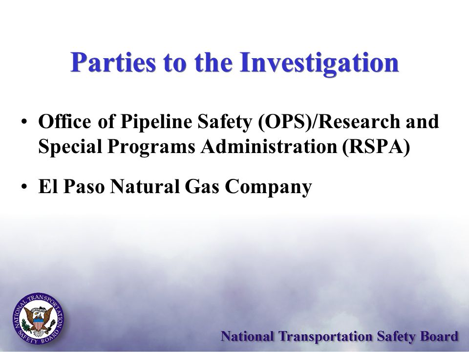 Parties to the Investigation Office of Pipeline Safety (OPS)/Research and Special Programs Administration (RSPA) El Paso Natural Gas Company