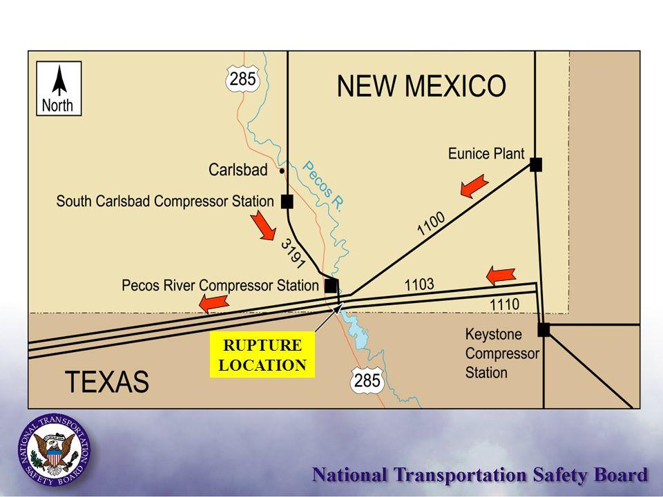 Camping area line 1103 River Pecos Rupture location Service bridge