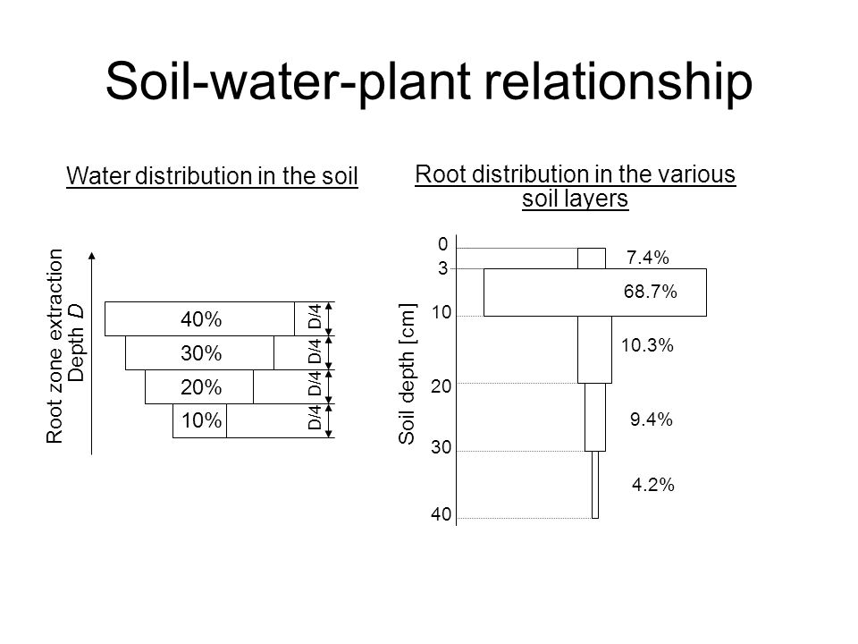 Soil-water-plant relationship Root zone extraction Depth D 40% 30% 20% 10% D/4 10 3 0 20 30 40 Soil depth [cm] 7.4% 68.7% 10.3% 9.4% 4.2% Water distribution in the soil Root distribution in the various soil layers
