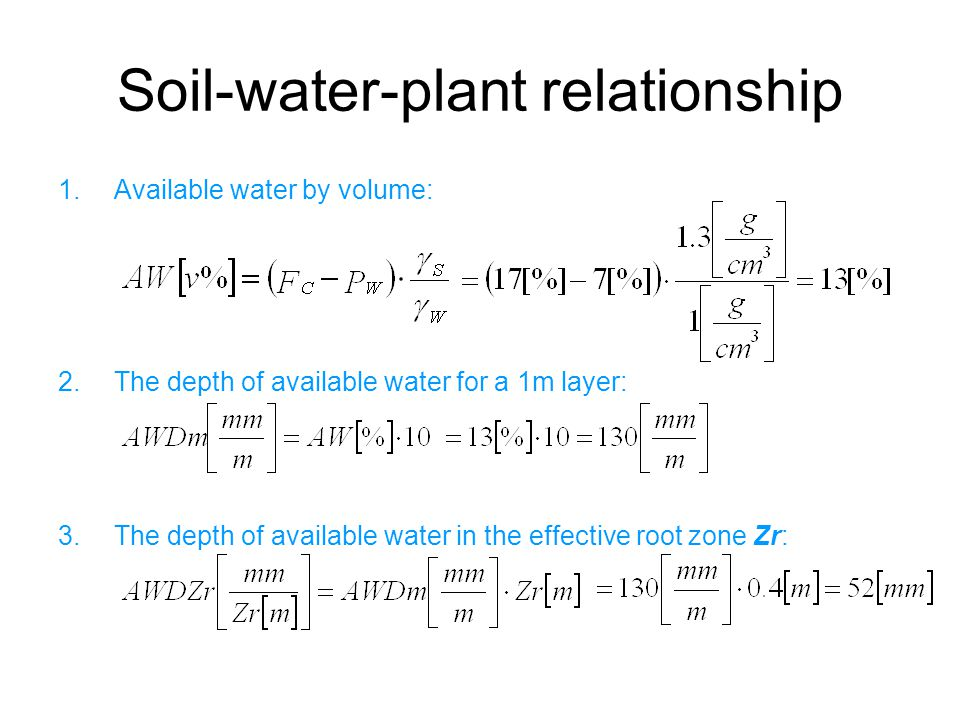 Soil-water-plant relationship 1.Available water by volume: 2.The depth of available water for a 1m layer: 3.The depth of available water in the effective root zone Zr: