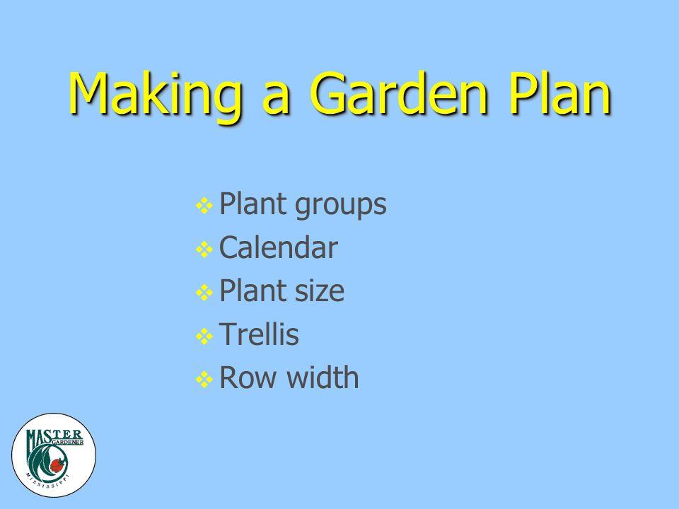 Making a Garden Plan v Plant groups v Calendar v Plant size v Trellis v Row width