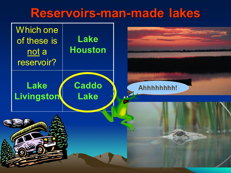 Reservoirs-man-made lakes Which one of these is not a reservoir? Lake Houston Lake Livingston Caddo Lake Ahhhhhhhh!