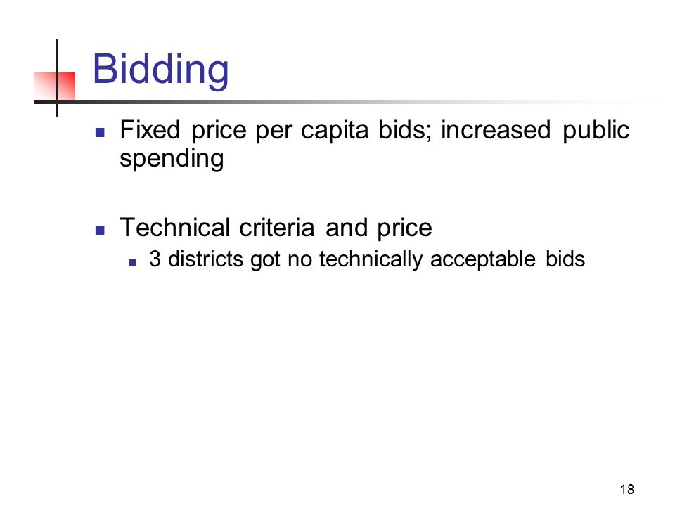 18 Bidding Fixed price per capita bids; increased public spending Technical criteria and price 3 districts got no technically acceptable bids