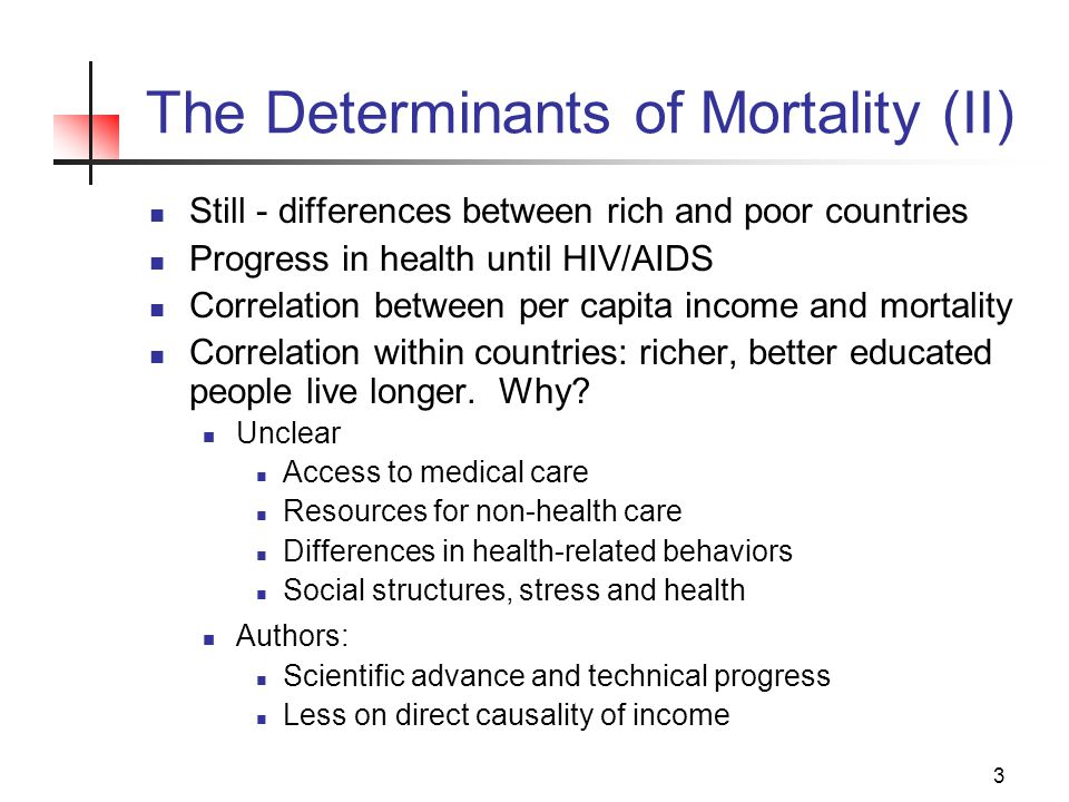 3 The Determinants of Mortality (II) Still - differences between rich and poor countries Progress in health until HIV/AIDS Correlation between per capita income and mortality Correlation within countries: richer, better educated people live longer.