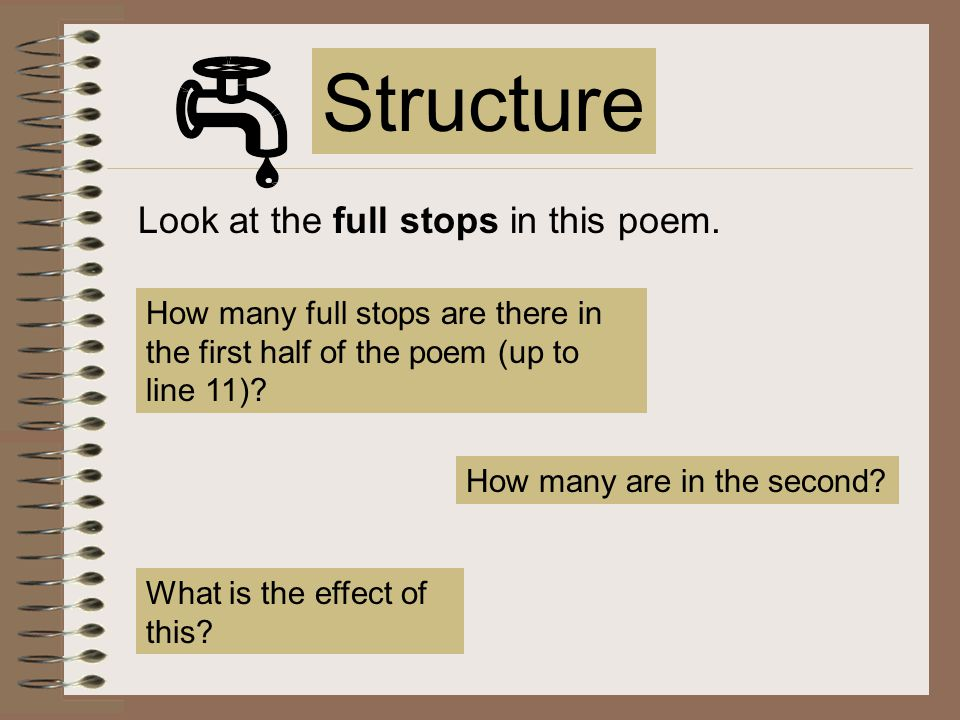 The poem is structured in four stanzas of different lengths.stanzas Why has the poet organised her thoughts in this way.