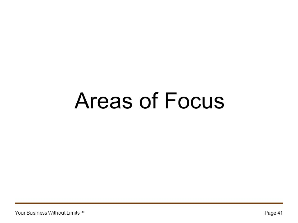 Your Business Without Limits™Page 41 Areas of Focus Page 41