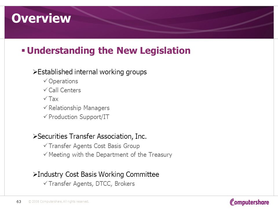 © 2008 Computershare. All rights reserved. 63 Overview  Understanding the New Legislation  Established internal working groups Operations Call Cente