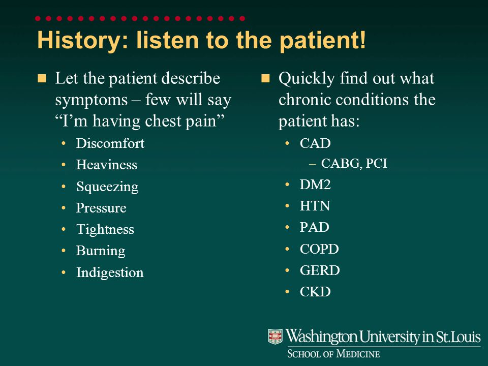History: listen to the patient.