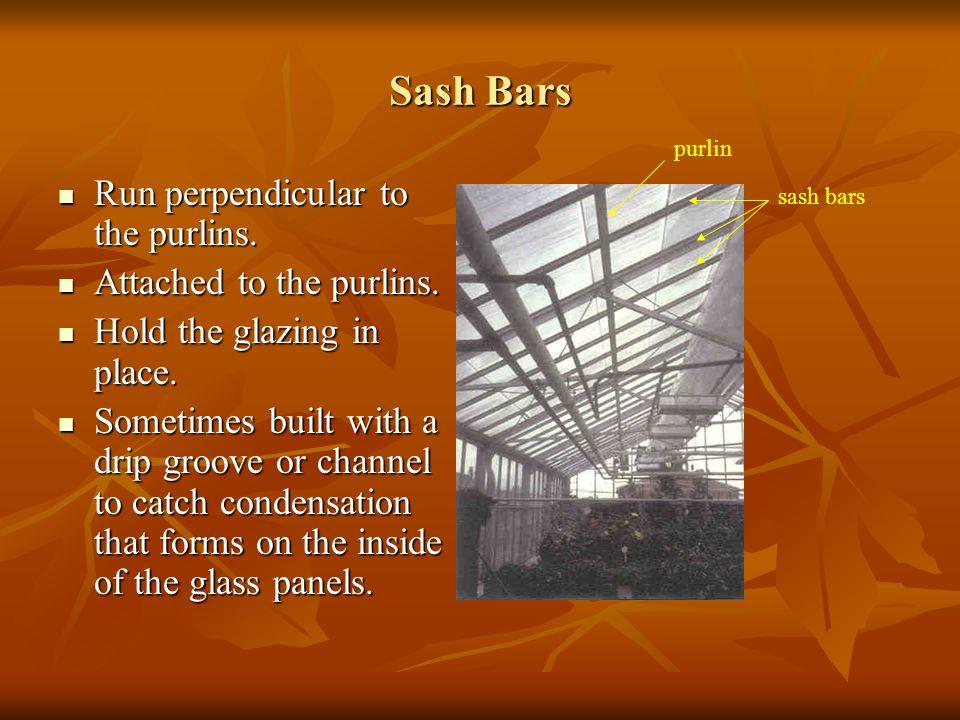Sash Bars Run perpendicular to the purlins. Run perpendicular to the purlins. Attached to the purlins. Attached to the purlins. Hold the glazing in pl