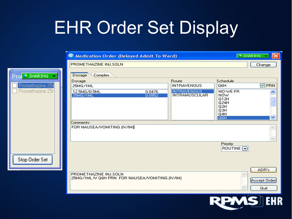 EHR Order Set Display (cont.)