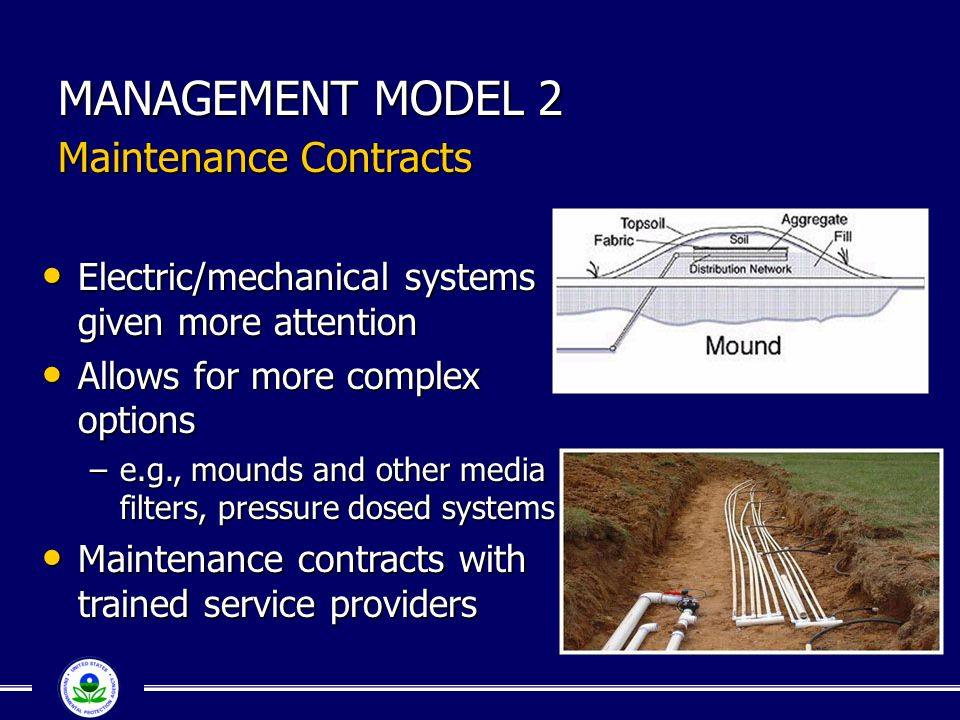 MANAGEMENT MODEL 2 Maintenance Contracts Electric/mechanical systems given more attention Electric/mechanical systems given more attention Allows for more complex options Allows for more complex options –e.g., mounds and other media filters, pressure dosed systems Maintenance contracts with trained service providers Maintenance contracts with trained service providers