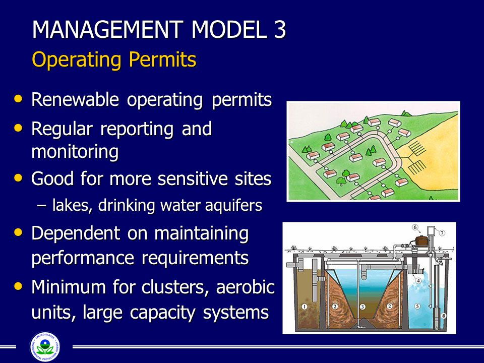 MANAGEMENT MODEL 3 Operating Permits Renewable operating permits Renewable operating permits Regular reporting and monitoring Regular reporting and mo