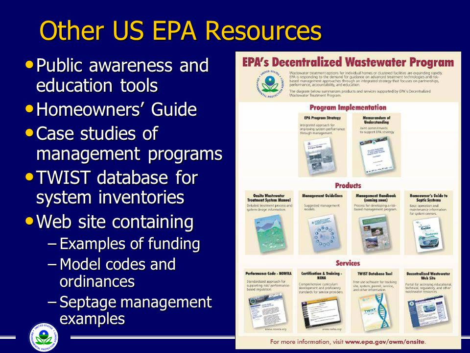 Other US EPA Resources Public awareness and education tools Public awareness and education tools Homeowners' Guide Homeowners' Guide Case studies of m