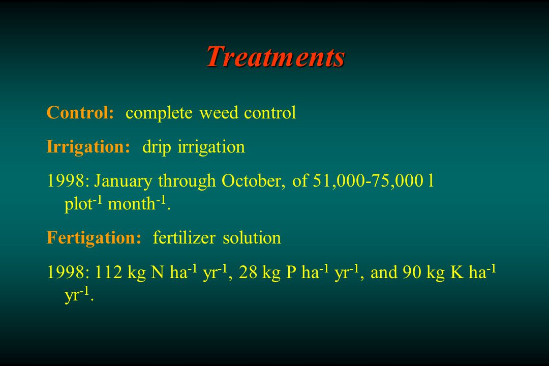 Treatments Control: complete weed control Irrigation: drip irrigation 1998: January through October, of 51,000-75,000 l plot -1 month -1.