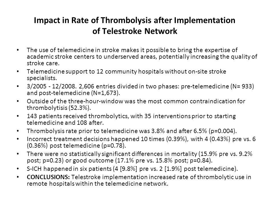 Impact in Rate of Thrombolysis after Implementation of Telestroke Network The use of telemedicine in stroke makes it possible to bring the expertise of academic stroke centers to underserved areas, potentially increasing the quality of stroke care.