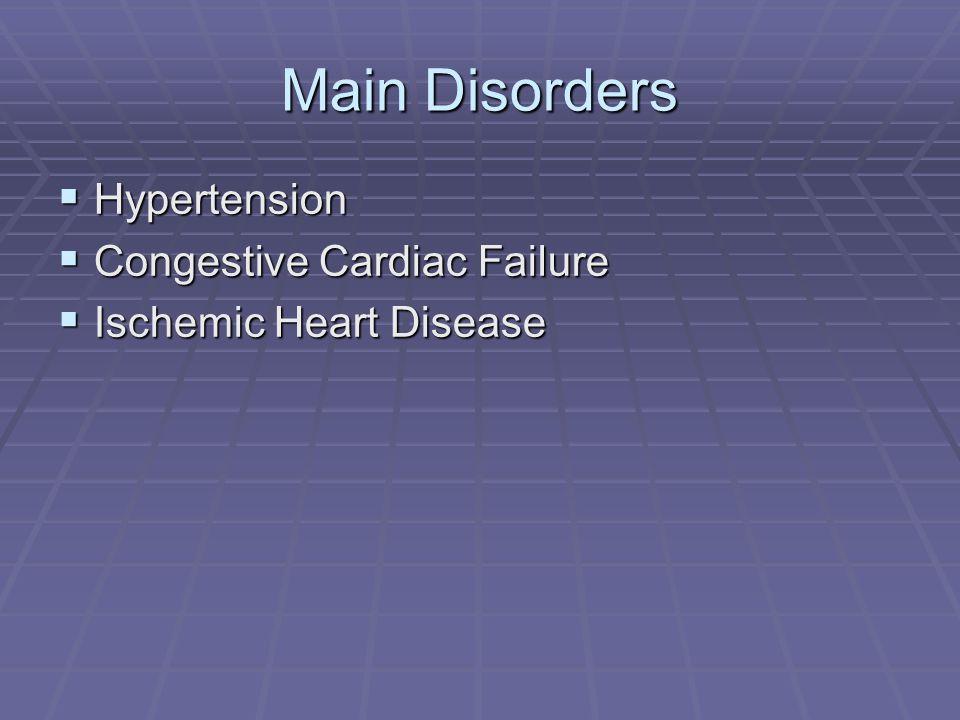 Main Disorders  Hypertension  Congestive Cardiac Failure  Ischemic Heart Disease