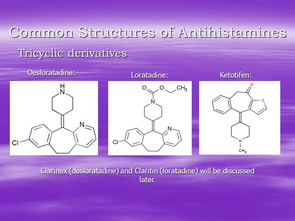 Common Structures of Antihistamines Tricyclic derivatives Desloratadine: Loratadine:Ketotifen: Clarinex (desloratadine) and Claritin (loratadine) will be discussed later.