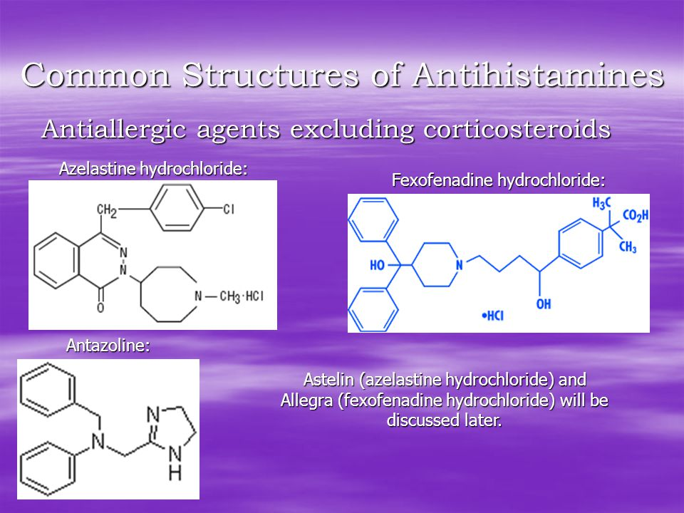 Common Structures of Antihistamines Antiallergic agents excluding corticosteroids Antazoline: Azelastine hydrochloride: Fexofenadine hydrochloride: Astelin (azelastine hydrochloride) and Allegra (fexofenadine hydrochloride) will be discussed later.