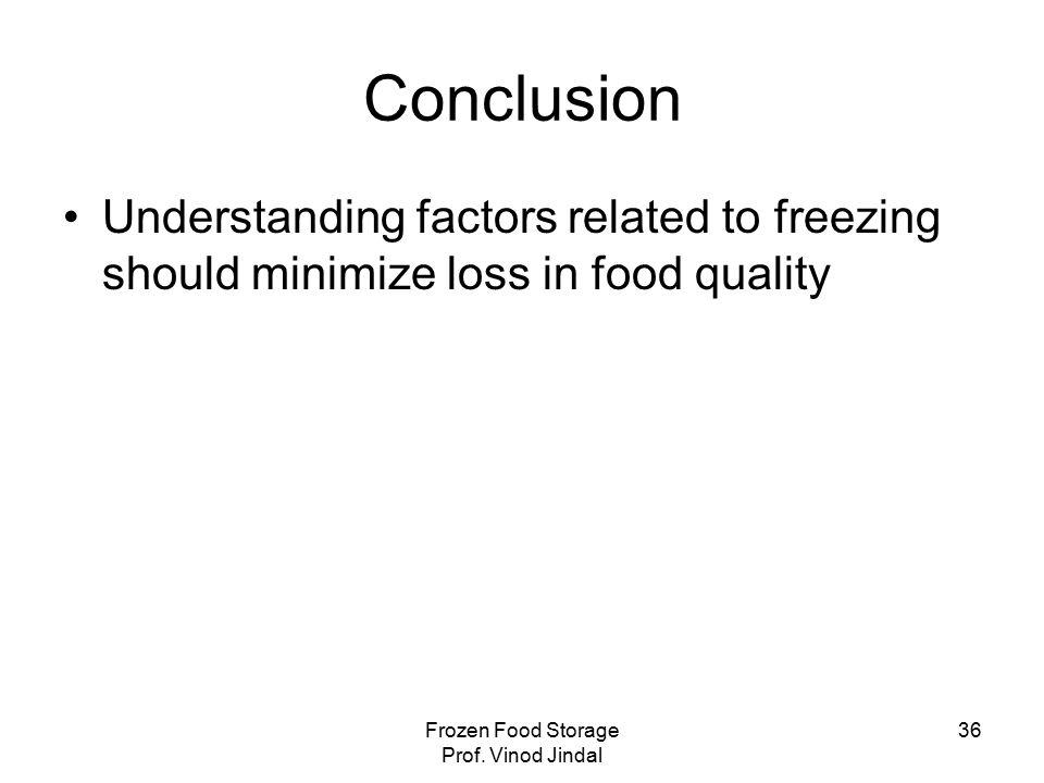 Frozen Food Storage Prof.