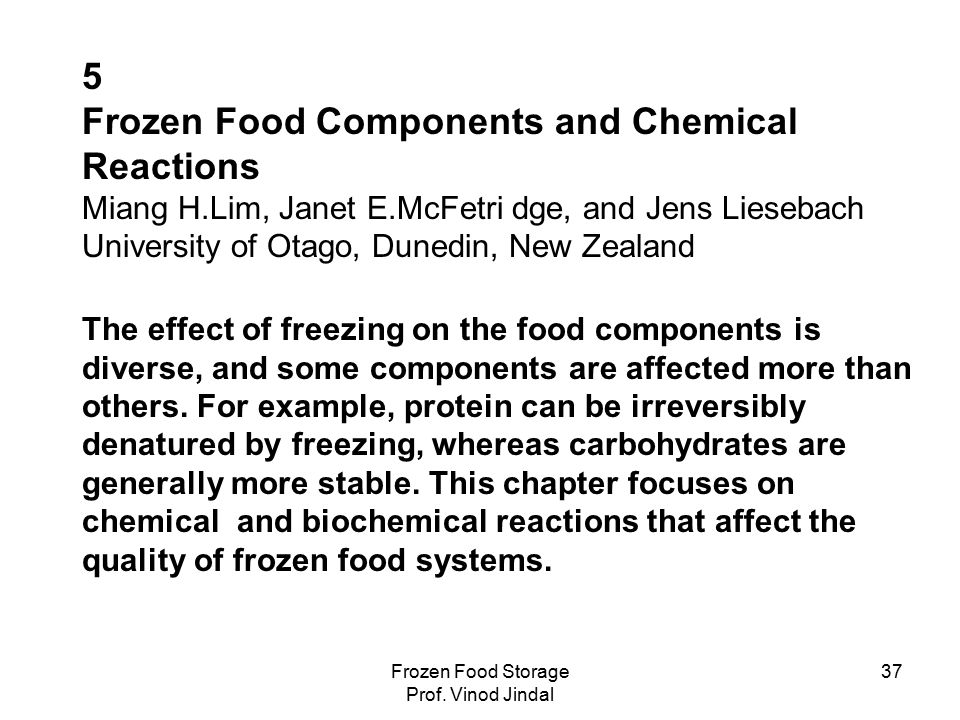 Frozen Food Storage Prof.