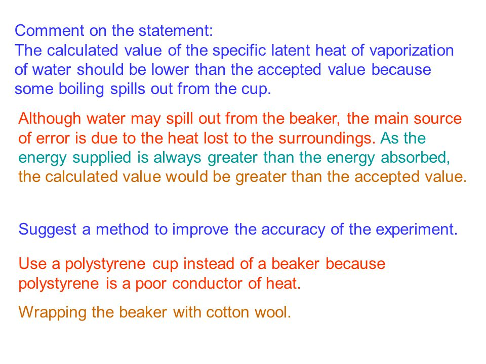 Comment on the statement: The calculated value of the specific latent heat of vaporization of water should be lower than the accepted value because so
