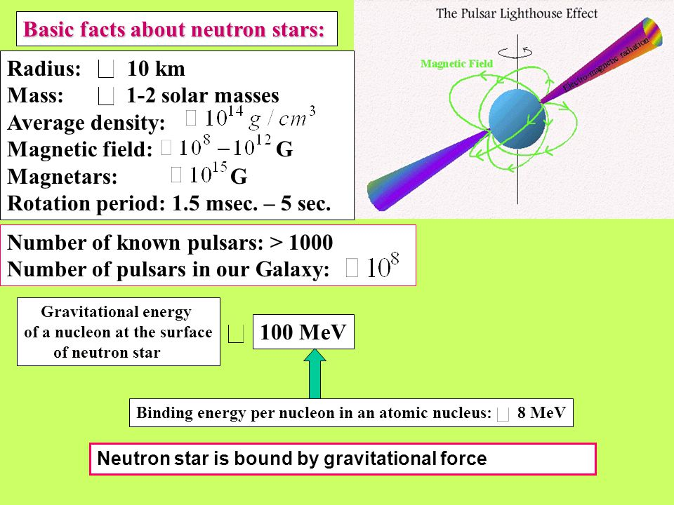 Basic facts about neutron stars: Radius: 10 km Mass: 1-2 solar masses Average density: Magnetic field: G Magnetars: G Rotation period: 1.5 msec.