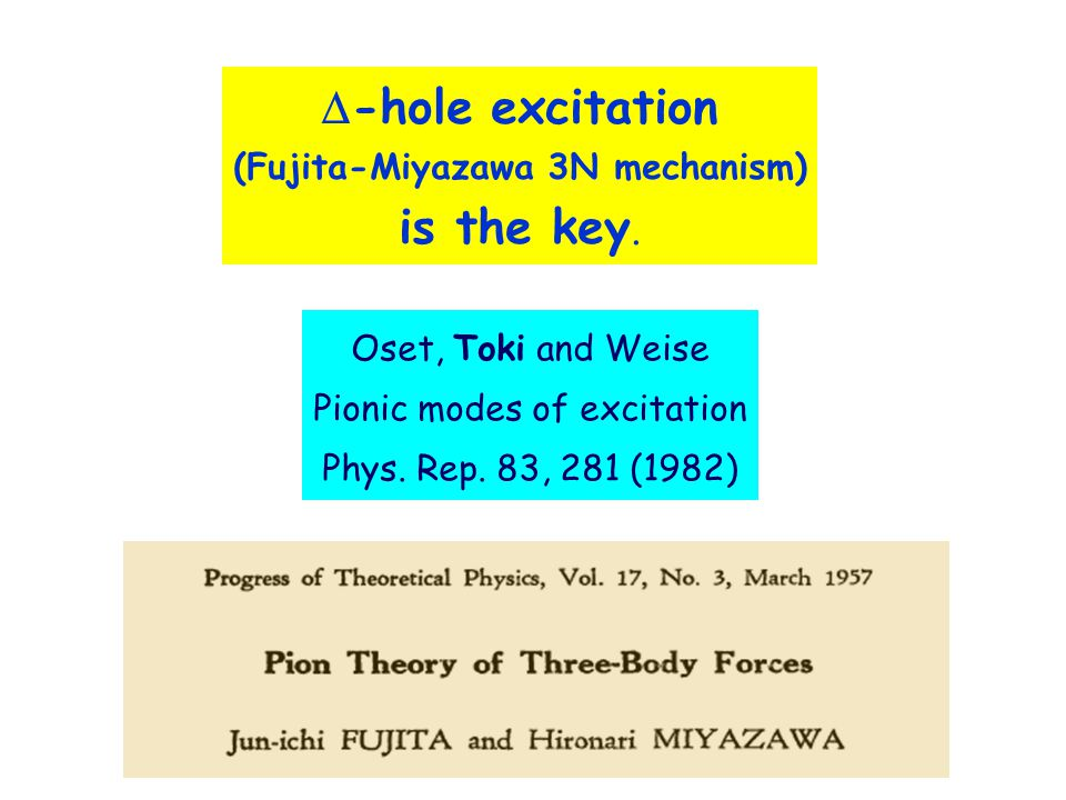  -hole excitation (Fujita-Miyazawa 3N mechanism) is the key.