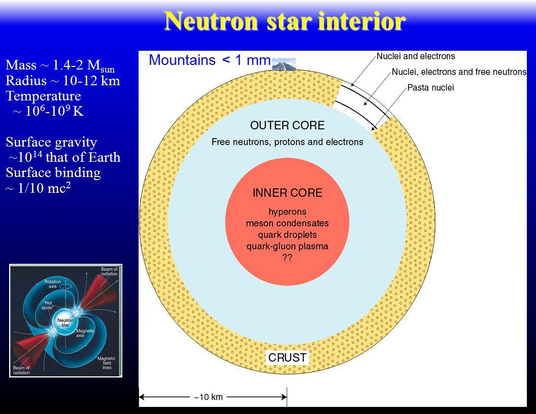 Mass ~ 1.4-2 M sun Radius ~ 10-12 km Temperature ~ 10 6 -10 9 K Surface gravity ~10 14 that of Earth Surface binding ~ 1/10 mc 2 Density ~ 2x10 14 g/cm 3 Neutron star interior Mountains < 1 mm