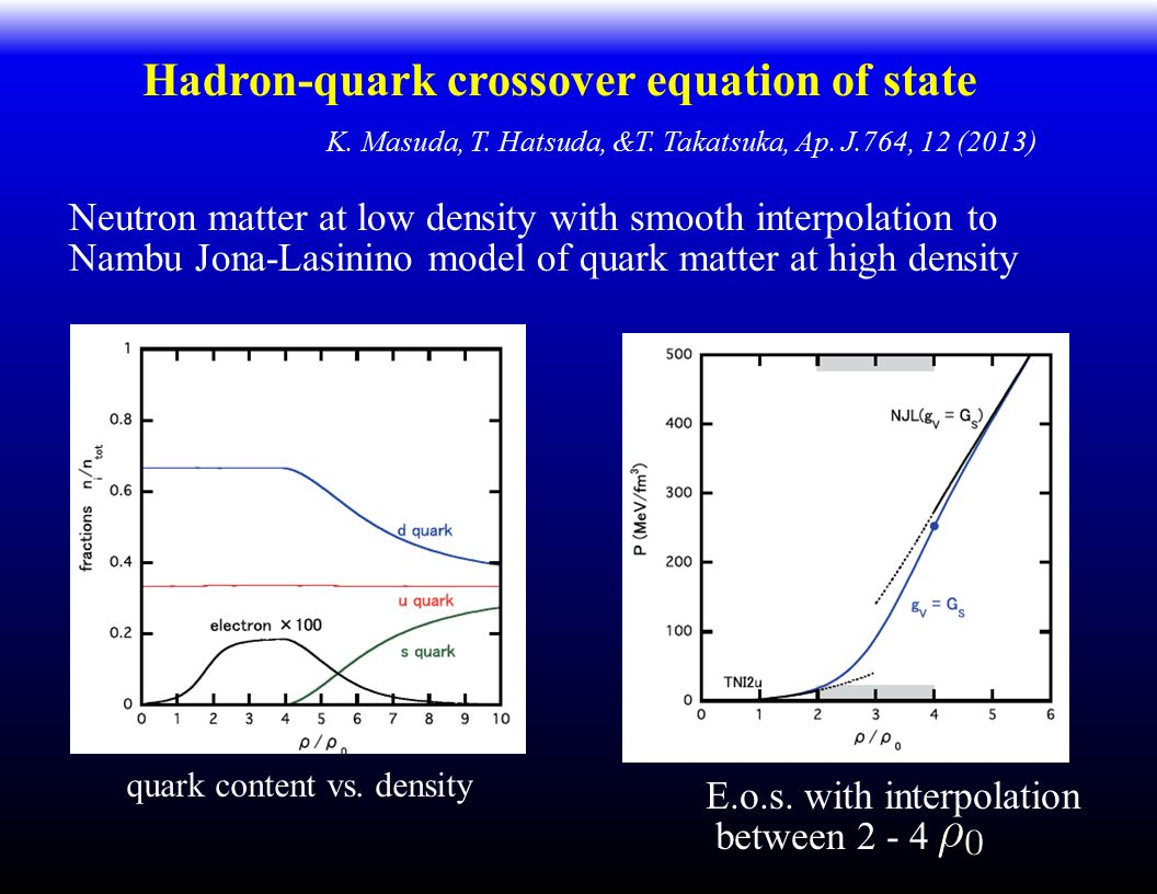 Hadron-quark crossover equation of state K. Masuda, T. Hatsuda, &T. Takatsuka, Ap. J.764, 12 (2013) Neutron matter at low density with smooth interpol