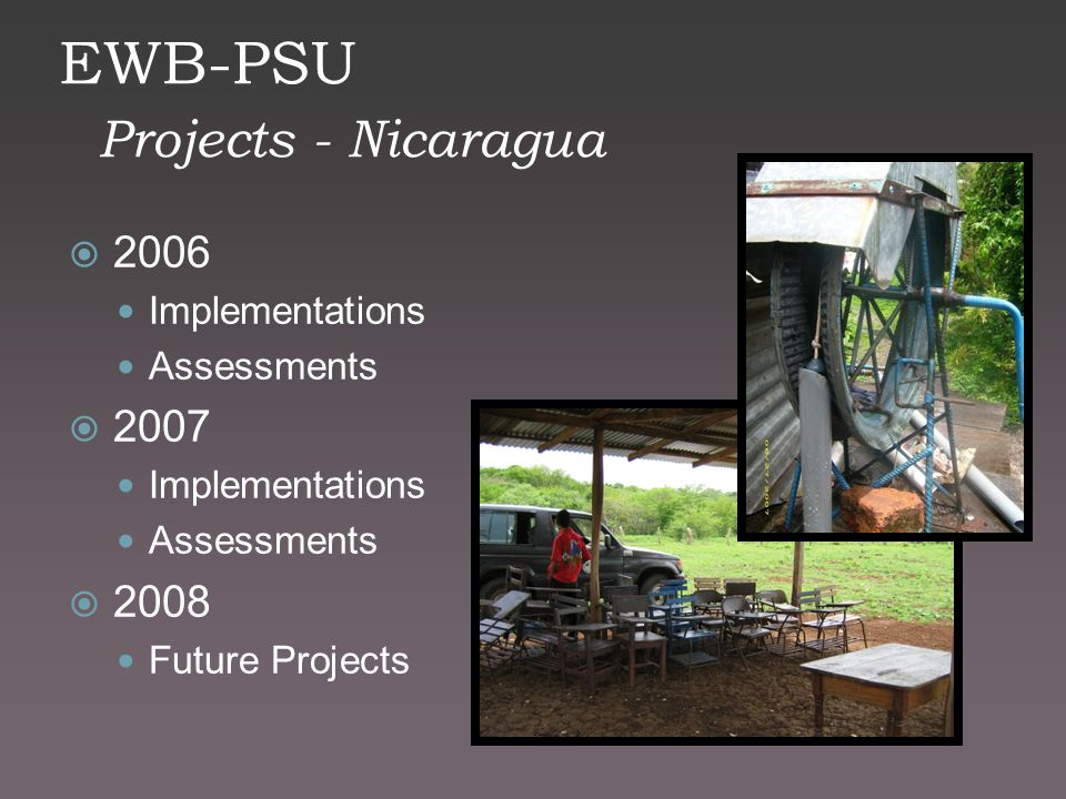 EWB-PSU Projects - Nicaragua  2006 Implementations Assessments  2007 Implementations Assessments  2008 Future Projects